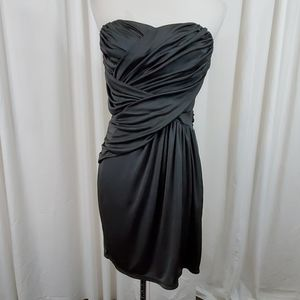 Express Gray Strapless Satin Dress